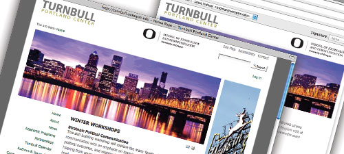 Website and e-mail stationery for UO SOJC's Turnbull Portland Center